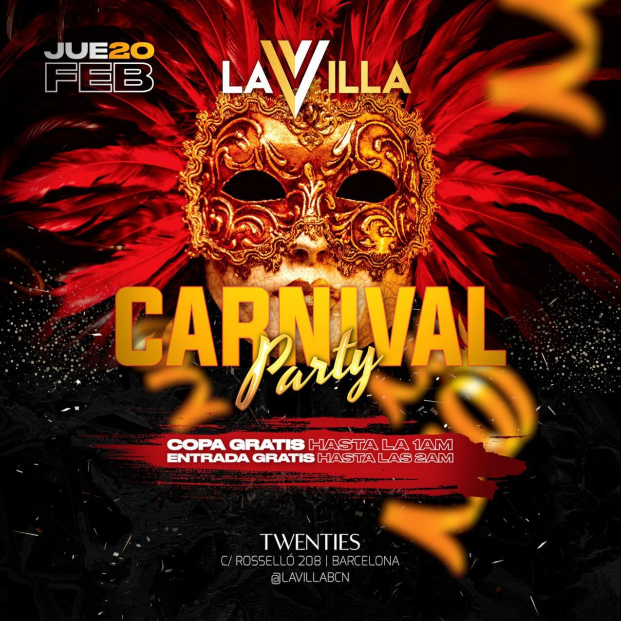 Jueves - Carnival Party - La Villa - Club Twenties Barcelona