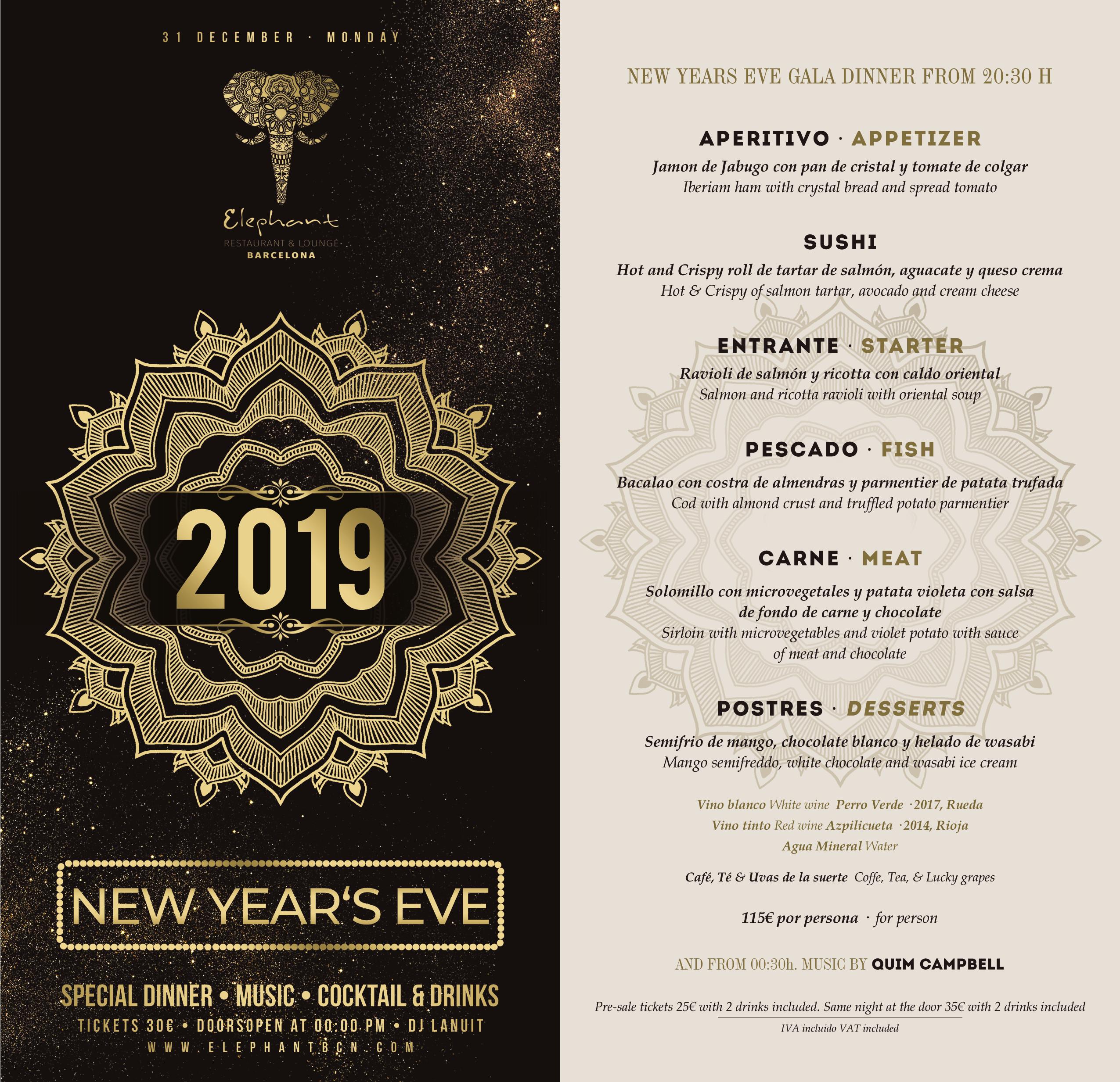 AÑO NUEVO 2019 - ELEPHANT ELEPHANT RESTAURANT & LOUNGE CLUB