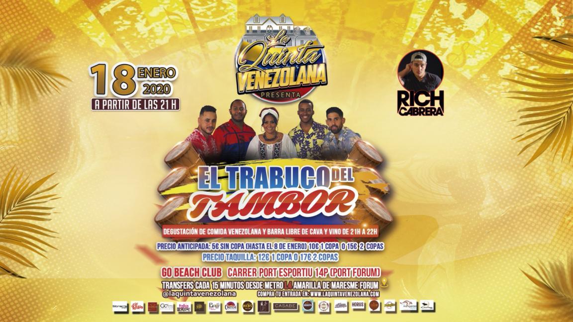 EL TRABUCO DEL TAMBOR DE LA QUINTA VENEZOLANA GO BEACH CLUB BARCELONA